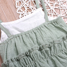 Load image into Gallery viewer, Summer Baby Girl Solid Color Ruffle Strap Cropped Tops Short Pants 2Pcs Outfit