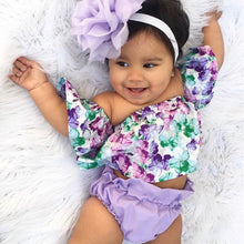 Load image into Gallery viewer, Girl Set 0-24M US Newborn Baby Girl Clothes Off Shoulder Floral Tops Shorts Headband Outfit Set