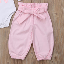 Load image into Gallery viewer, Girl Set 0-24M 3pcs Baby Romper + Long Pants + Headband Outfits Clothing Set
