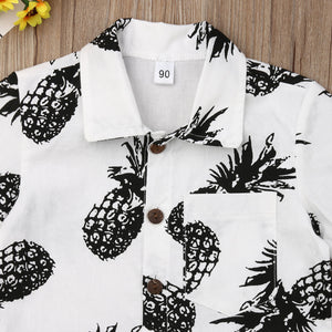 Baby Boys Pineapple Shirts Cotton Button Up Short Sleeve