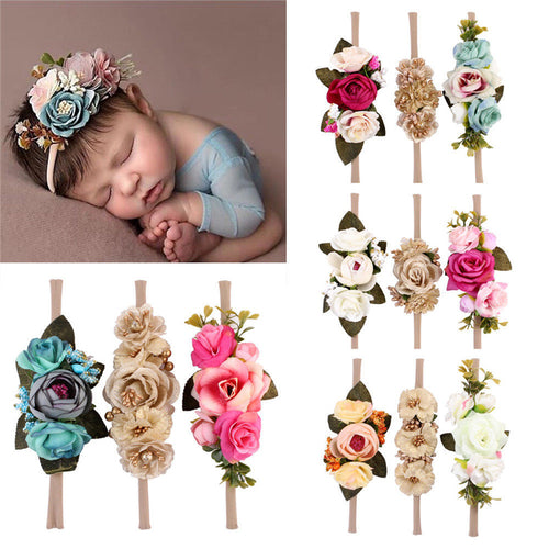 New style 3Pcs Baby Girls Infant Toddler Flower Headband Hair Band with Soft Elastic great Accessory for photos!