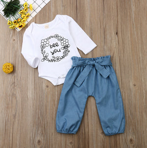 Autumn Newborn Baby Girls Tops Romper Floral Pants Outfits Spring Set Fall Clothes 0-24M