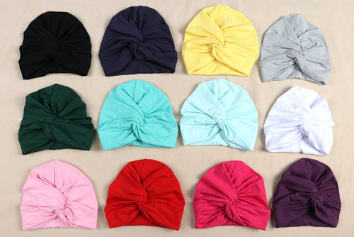 Baby Turban Boy Girl Cotton Blends Hat Soft Solid color Knot Beanies Baby Gifts