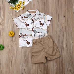 Summer Toddler Baby Boy Horse Print - Farm Shirt Tops Short Pants 2Pcs Outfits