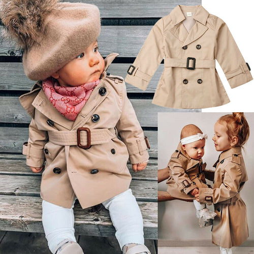 Baby Girl Spring/Autumn Lapel TrenchCoat Long Sleeve Jacket Lined  2-7T