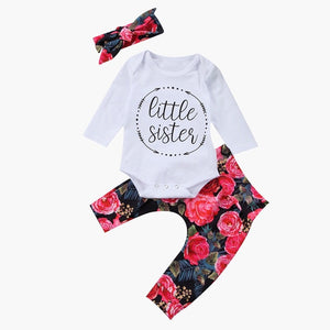 Girl Toddler Baby Tops Romper Floral Pants 3Pcs Outfits Set Clothes