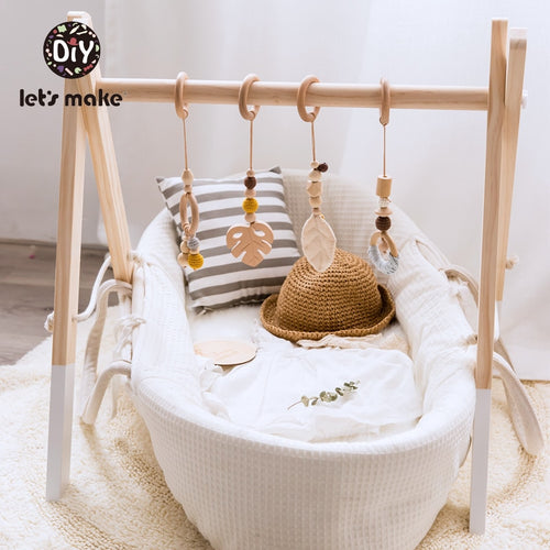 DIY Nordic Style Baby Gym Play Wood Baby Toys Nursery Sensory BPA Free Organic Material Wooden Frame Infant Room Toy Baby Rattles