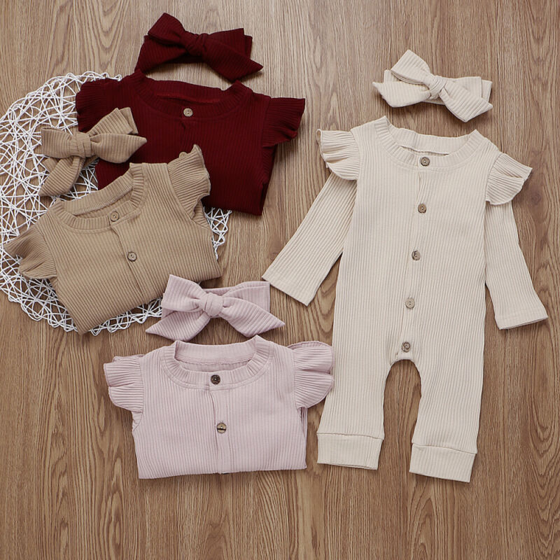 Baby Girl Cotton Knitted Romper Jumpsuit Headband Autumn Clothing Set