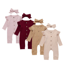 Load image into Gallery viewer, Baby Girl Cotton Knitted Romper Jumpsuit Headband Autumn Clothing Set