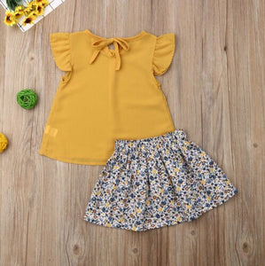 Trendy Kids Baby Girls Floral Ruffle Tops T-Shirt + Tutu Dress 2pcs Outfits Set