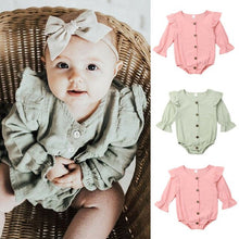 Load image into Gallery viewer, 0-24M Lovely Baby Girls Cotton Bodysuit Newborn Baby Girl Clothes Long Sleeve Ruffle Bodysuit Spring Fall Jumpsuit One Piece
