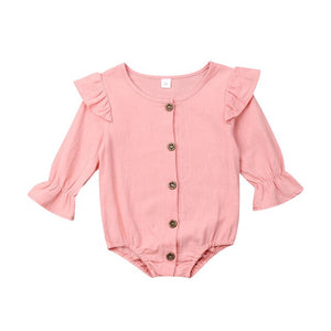 0-24M Lovely Baby Girls Cotton Bodysuit Newborn Baby Girl Clothes Long Sleeve Ruffle Bodysuit Spring Fall Jumpsuit One Piece