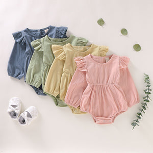 0-24M Toddler Baby Girl Solid Color Ruffle Romper Jumpsuit Long Sleeve Outfits Clothes Fall Spring