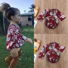 Load image into Gallery viewer, Long sleeve Floral Baby Girl Jumpsuit Romper Outfits Set