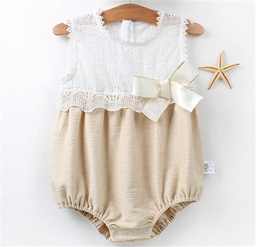 Newborn Baby Girls Adorable Sleeveless Lace Romper One-Piece lightweight Summer Casual Sunsuit Clothes 0-24M