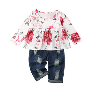 Baby girl Spring/Autumn Dress Top T-shirt + Ribbed Denim Pants Winter Outfit Set 18M-6T