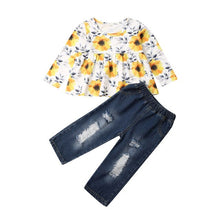 Load image into Gallery viewer, Baby girl Spring/Autumn Dress Top T-shirt + Ribbed Denim Pants Winter Outfit Set 18M-6T