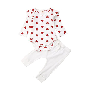 Baby Girl Spring/Autumn Ribbed Hearts Romper Top Long Pants 2Pcs Outfit