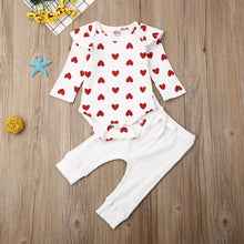 Load image into Gallery viewer, Baby Girl Spring/Autumn Ribbed Hearts Romper Top Long Pants 2Pcs Outfit