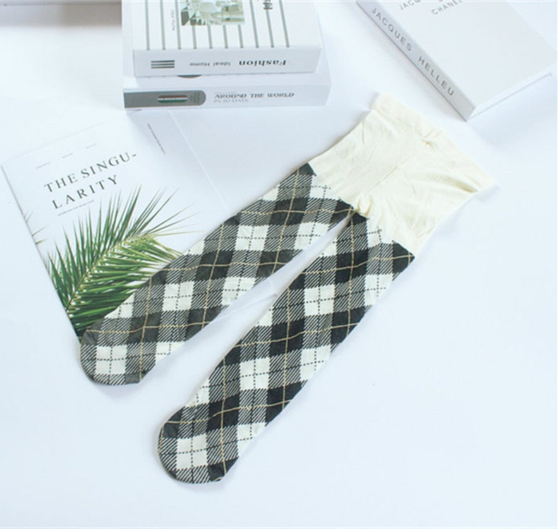 Leggings Baby Girl Checked Stockings Long Leg Warmer Plaid Pantyhose
