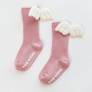 Baby Boy Girl Cotton Socks Soft Breathable Angel Wing Knee Socks Ribbed Solid Leggings 6M-5T
