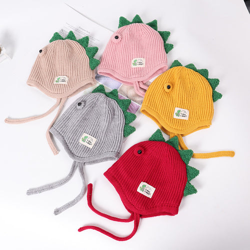 Baby Accessories Winter Baby Toddler Kids Boy/  Girl Cap Knitted Beanie 3D Dinosaur Eyes Warm Hat 2-6T
