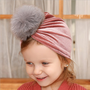 Baby Accessories Toddler Baby Girl Turban Head Wrap Velvet Beanie Furry Ball Headband Props
