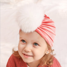 Load image into Gallery viewer, Baby Accessories Toddler Baby Girl Turban Head Wrap Velvet Beanie Furry Ball Headband Props