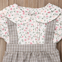Load image into Gallery viewer, Baby Girls Floral Plaid Romper Short Sleeve Jumpsuit Bowknot Headband Outfit Set Casual Cute Clothes 0-18M