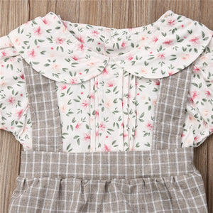 Baby Girls Floral Plaid Romper Short Sleeve Jumpsuit Bowknot Headband Outfit Set Casual Cute Clothes 0-18M