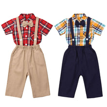 Load image into Gallery viewer, Boy Clothes 2PCS Newborn Baby Boy Clothes Short Sleeve Plaid Romper + Solid Bib Pants Outfit 0-24M