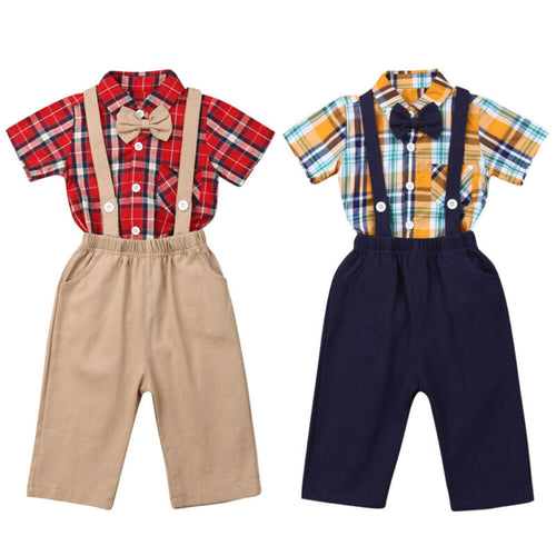 Boy Clothes 2PCS Newborn Baby Boy Clothes Short Sleeve Plaid Romper + Solid Bib Pants Outfit 0-24M