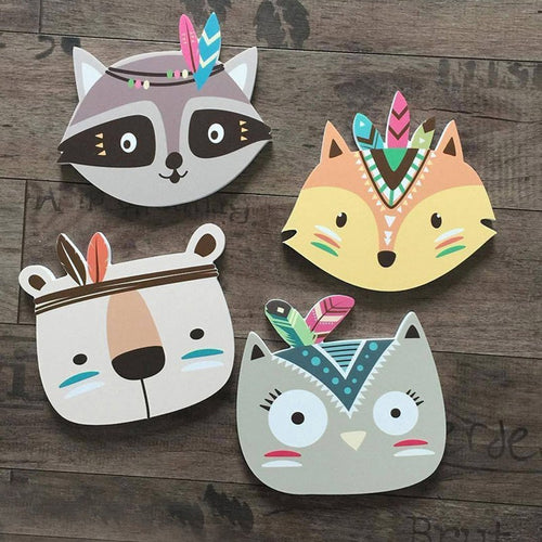 Boho Nordic Style Home Wall Ornaments Cartoon Animals Fox Baby Room Crib Decor Kids Bedroom Decoration Child Photography Props