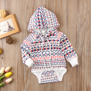 Baby Boys / Girls Cotton Romper Toddler Loose Boho Hoodie Hooded Romper Jumpsuit