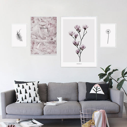Nordic Feather Canvas Art Print Painting Poster, Flower Wall Pictures For Home Decoration, Wall Decor Boho Baby Nursery Decor