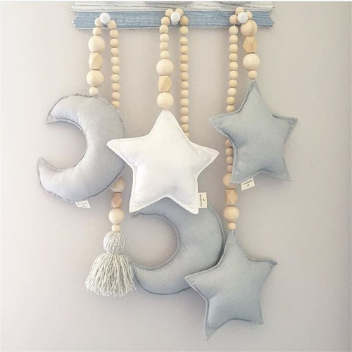 Baby Decoration Pillow Nordic Moon Stars Wooden Beads Strings Toys Kids Bed Room Crib Tent Decor Ornaments Photography Props