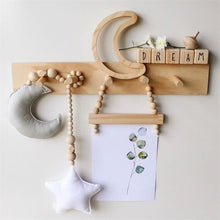 Load image into Gallery viewer, Baby Decoration Pillow Nordic Moon Stars Wooden Beads Strings Toys Kids Bed Room Crib Tent Decor Ornaments Photography Props