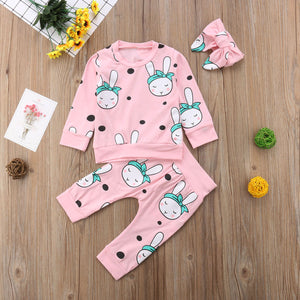 Baby Girls Boys Clothes 3PCS Long Sleeve Cartoon Rabbit Sweatshirt Tops + Pant + Headband Sets