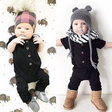 Load image into Gallery viewer, Cotton Newborn Baby Boy / Girl Romper Short Sleeve Solid Color Button One Piece Jumpsuit Clothes 0-24M