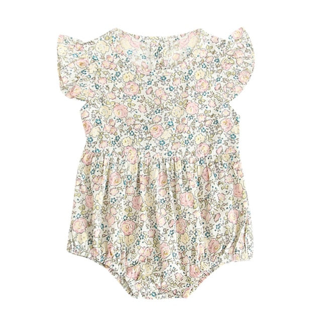 Baby Girl Short Sleeve Flowers Romper lightweight summer jumpsuit