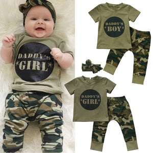 Baby Boy Girls Camo T-shirt Tops Long Pants Outfits Set Clothes 2Pcs