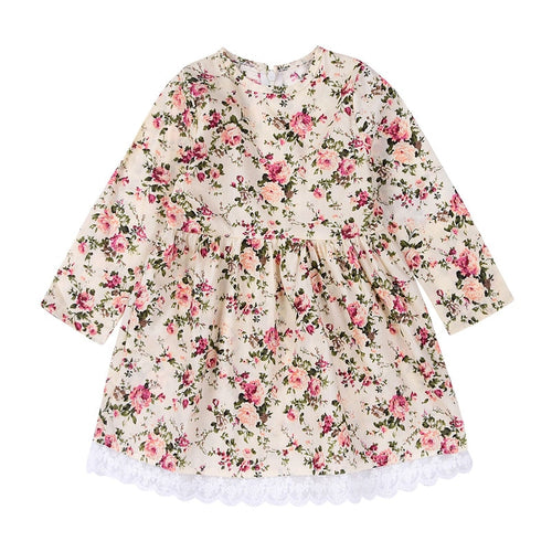 Baby Girls Long Sleeve Lace Dress Floral Boho 1-6T