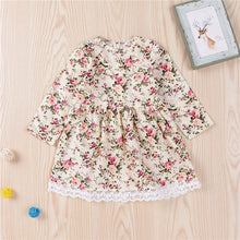 Load image into Gallery viewer, Baby Girls Long Sleeve Lace Dress Floral Boho 1-6T