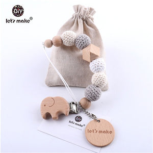 Let's Make Baby Teether 1PC Pacifier Chain Crochet Beads With Bag Wood Teether
