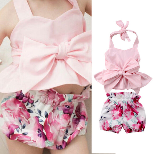 Girl Set 0-24M Newborn Baby Bow-knot Backless Tops Romper + Floral Shorts