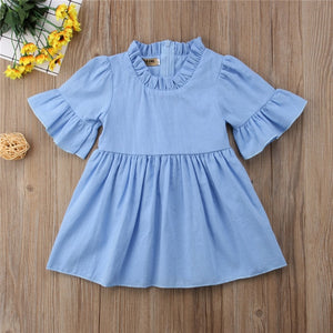 Baby Girls Casual Sun Dress Half Flare Sleeve Clothes 1-4T