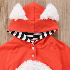 Baby Girls or Boy Fur Hooded Long Sleeve Rompers Autumn Playsuit Jumper Cotton Outfits Costume 0-24M