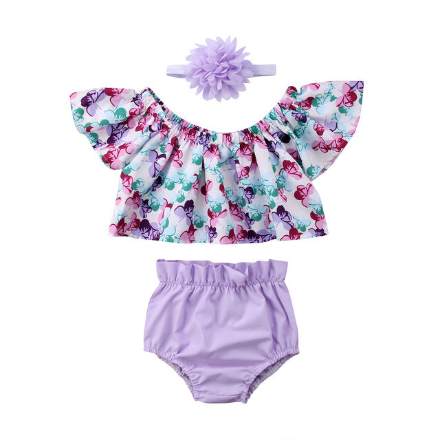 Girl Set 0-24M US Newborn Baby Girl Clothes Off Shoulder Floral Tops Shorts Headband Outfit Set
