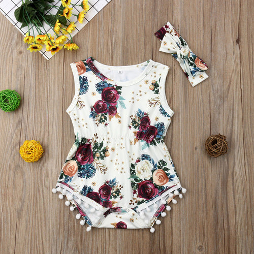 Girl Jumpsuits 0-24M 2Pcs Newborn Baby Girls Floral Romper with Headband