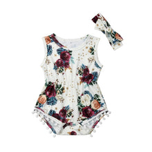 Load image into Gallery viewer, Girl Jumpsuits 0-24M 2Pcs Newborn Baby Girls Floral Romper with Headband